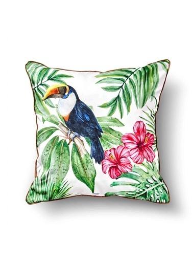 The Mia Tropik Yastık - Toucan Beyaz 50 x 50cm Renkli